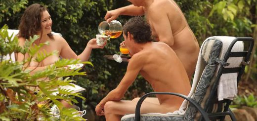 Naked people having tea